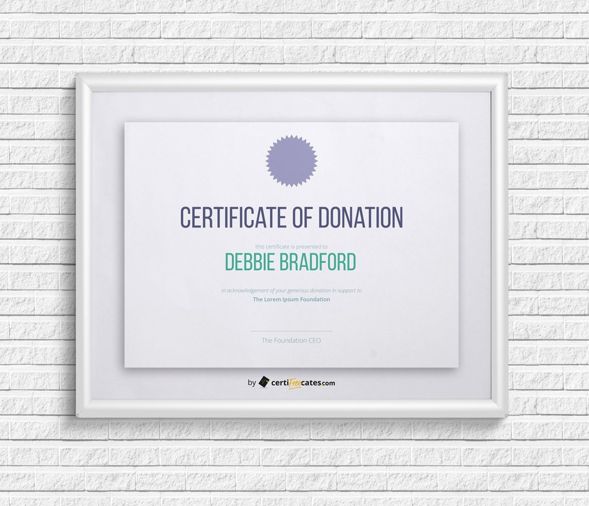 Certificate of Donation Certifreecates - acknowledgement certificate templates