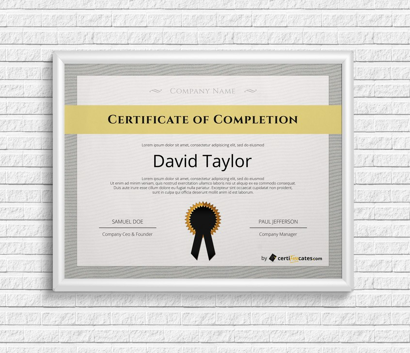 Free Completion Certificate Templates Certifreecates