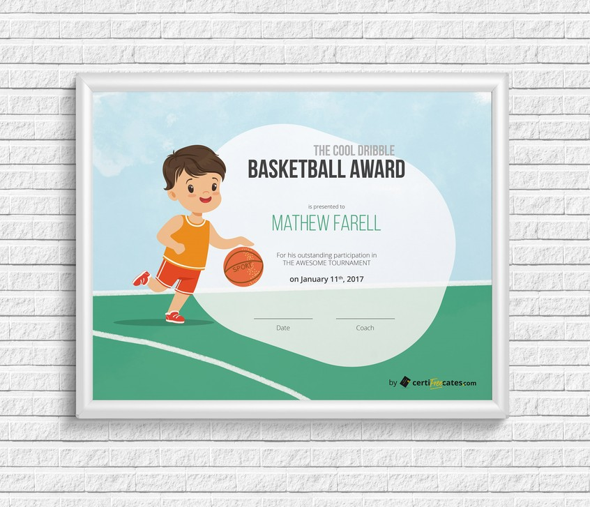 Basketball Award Certificate Template for Kids Certifreecates