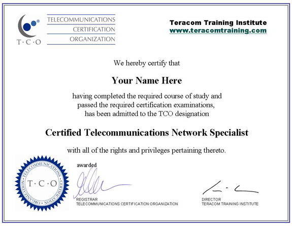 Free Online Telecommunications Training Certification Course Lessons - samples certificate