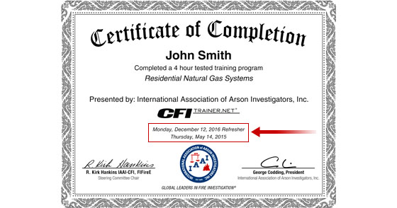 Fire Investigator News - Certificate Refreshes Now Available