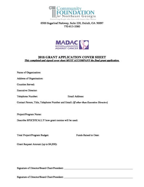 MADAC 2018 Grant Application and Guidelines 9418 - Community