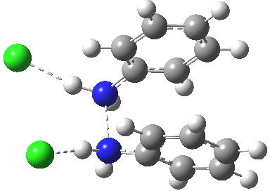 Transition state between p-complex and  N-N diprotonated diphenyhydrazine. Click for  3D.