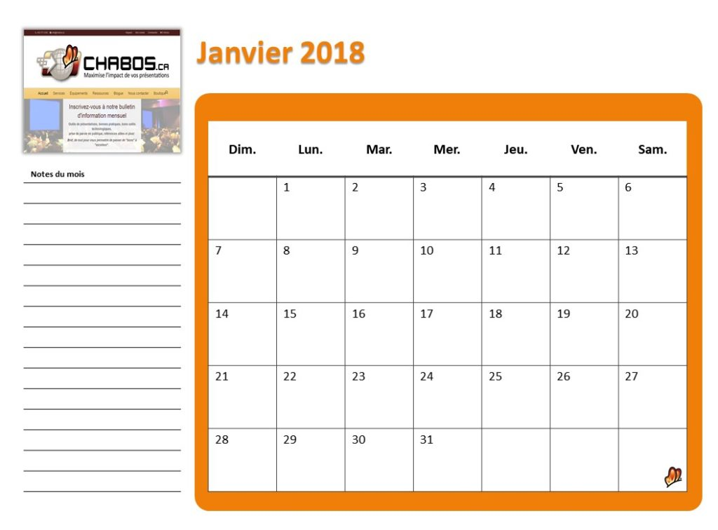 A PowerPoint calendar template, with auto-update of dates! CHABOSca
