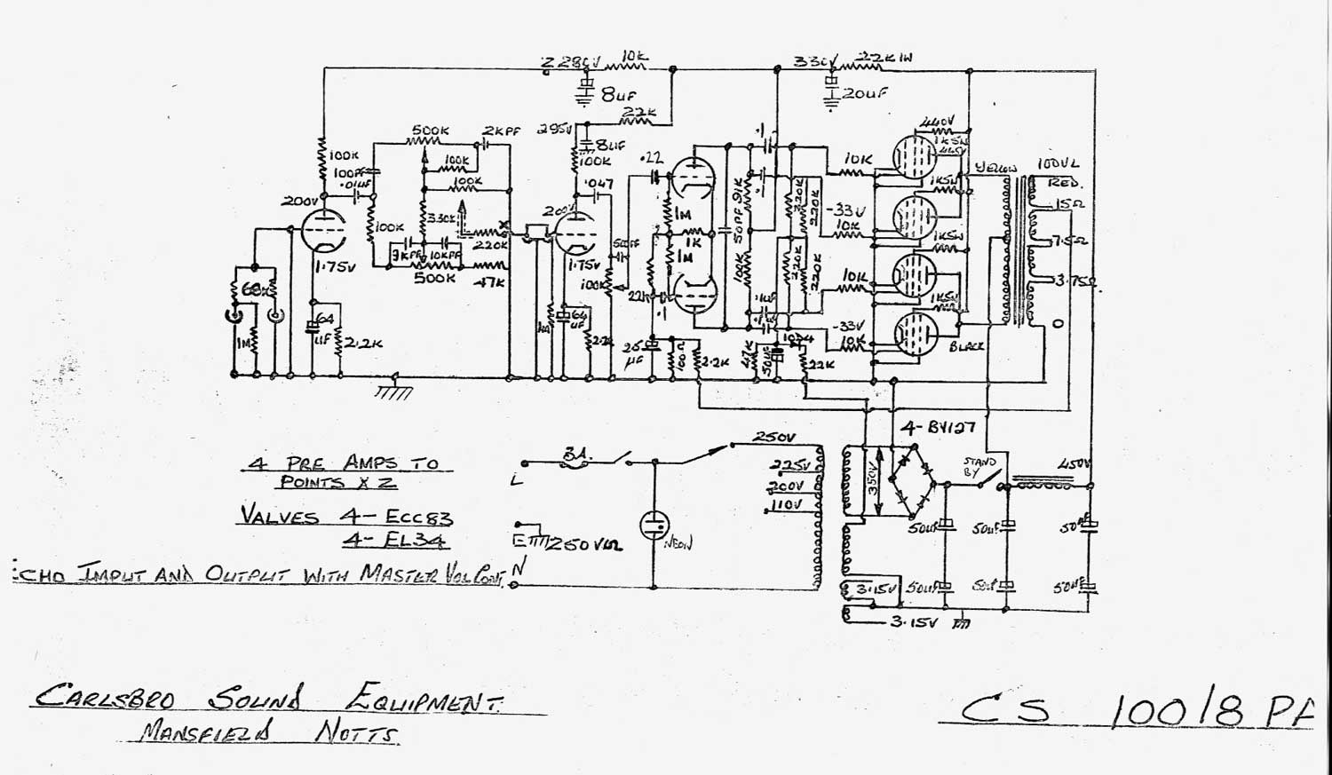 carlsbro 100 pa r amp schematic