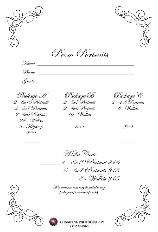 Champine Photography Dixie and TCN Prom Portrait order form