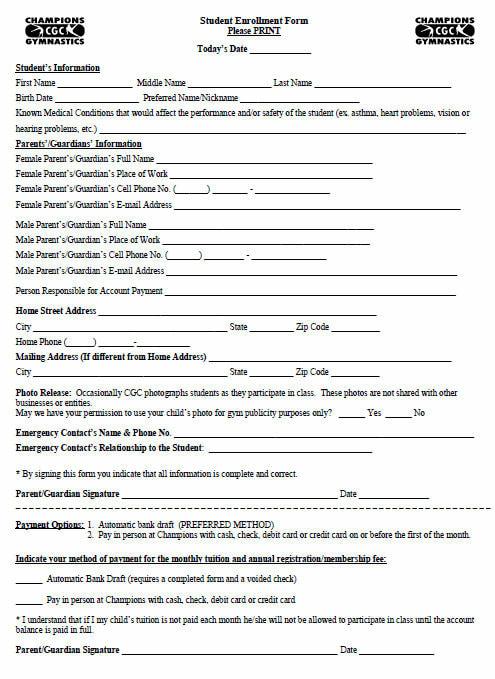Registration Forms - Champions Gymnastics Center, Inc