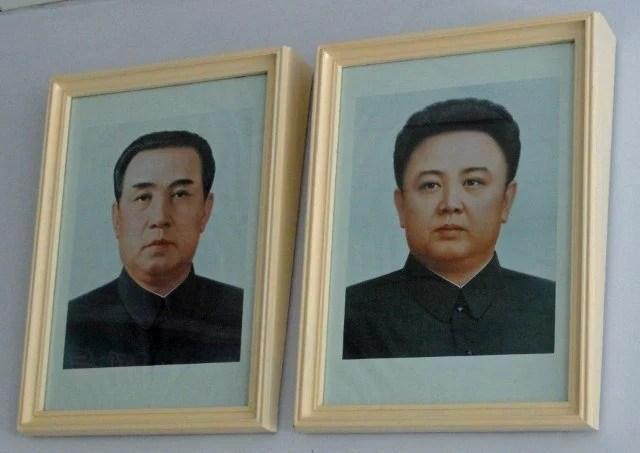 GB Kim Il Sung and Kim Jong Il at DMZ