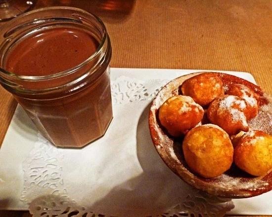 Paris pastry pot au creme with beignets