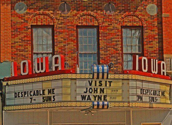 Iowa Theater Winterset art deco movie theater sign