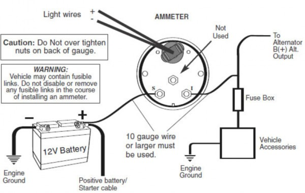 ammeter wiring diagram alternator lights
