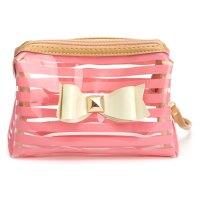 Stripe Transparent Travel PVC Bow Tie Cosmetic Make Up Bag ...