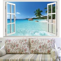 Beach Window View Scenery 3D Wall Stickers Vinyl Art Mural ...