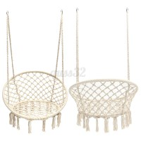 Beige Hanging Cotton Rope Macrame Hammock Chair Swing ...