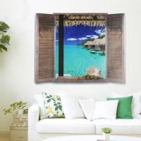 Beach Window View Scenery 3D Wall Stickers Vinyl Art Mural ...