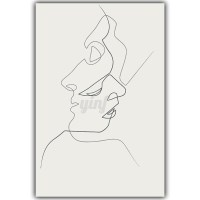 Abstract Loving Kiss Canvas Print Painting Simple Line ...
