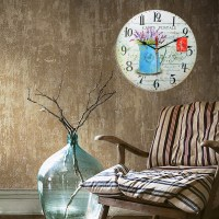 Vintage Wall Clock Wooden Rustic Retro Shabby Chic Office ...