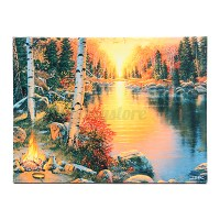 LED Light Up Lighted Christmas Canvas Painting River ...