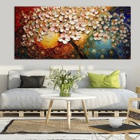 Hand-painted Flower Tree Canvas Abstract Painting Print ...