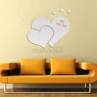 Removable 3D Mirror Hearts Wall Sticker Decal DIY Home ...