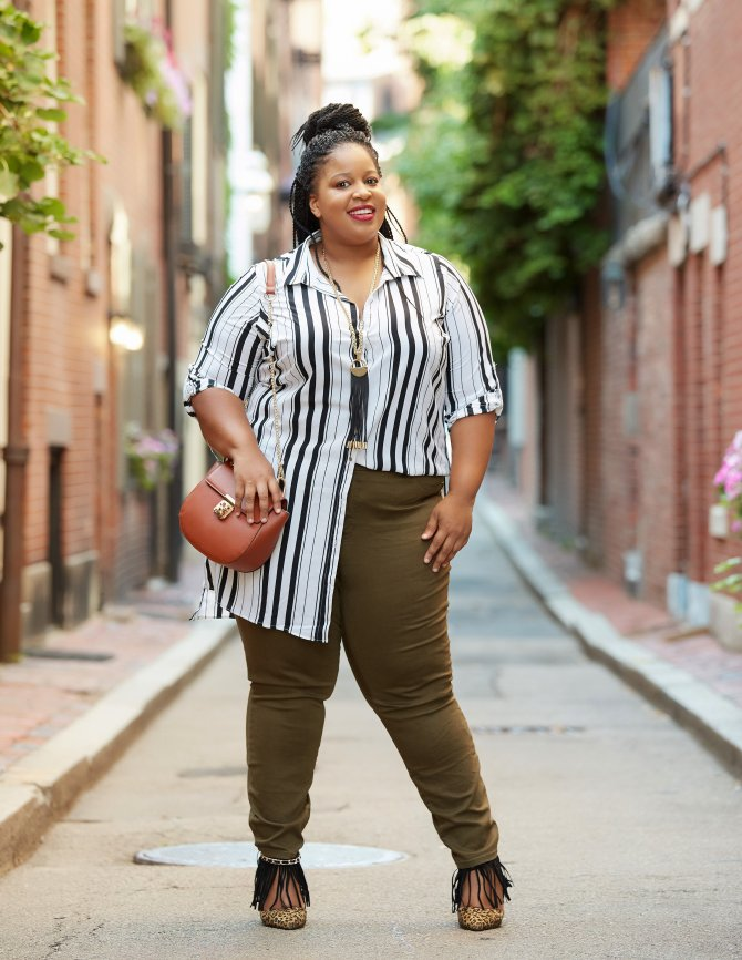 Chardline Plus Size Blogger wearing Fashion to Figure Olive Green Denim Jeans for Fall Fashion