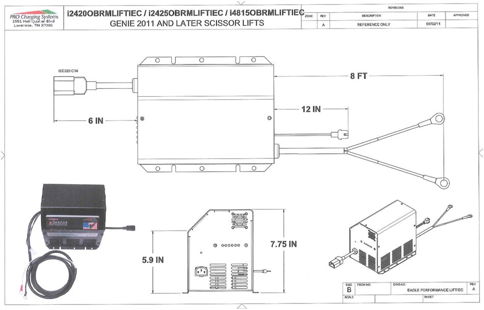 I2420OBRMLIFTIEC Eagle Performance Z-Boom Lift Battery Charger, 24