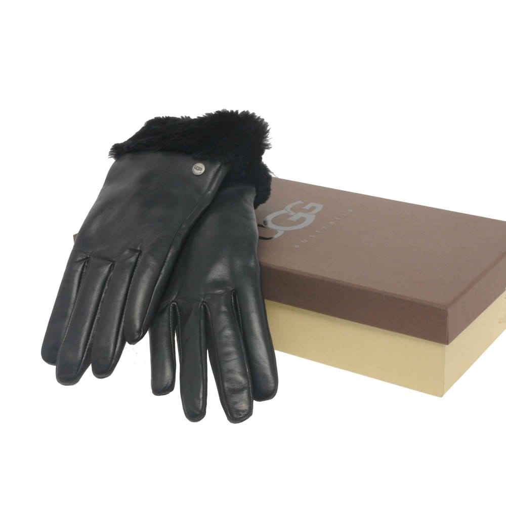 Australia ugg australia ladies black leather fashion short gloves