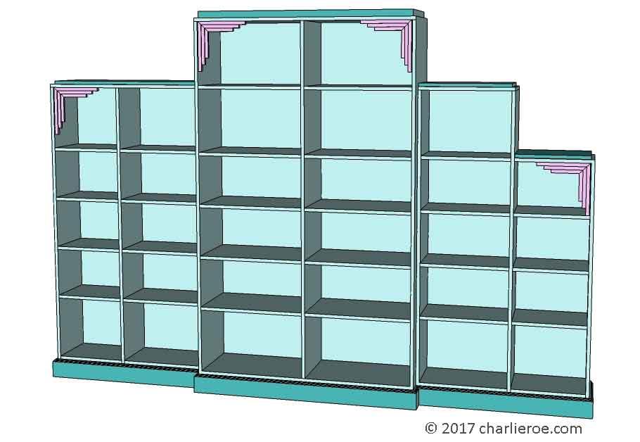 New Art Deco Stepped Skyscraper Style Bookcases Cuboards