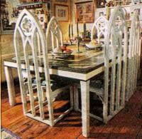 New Gothic carved wood painted pine dining Tables and ...