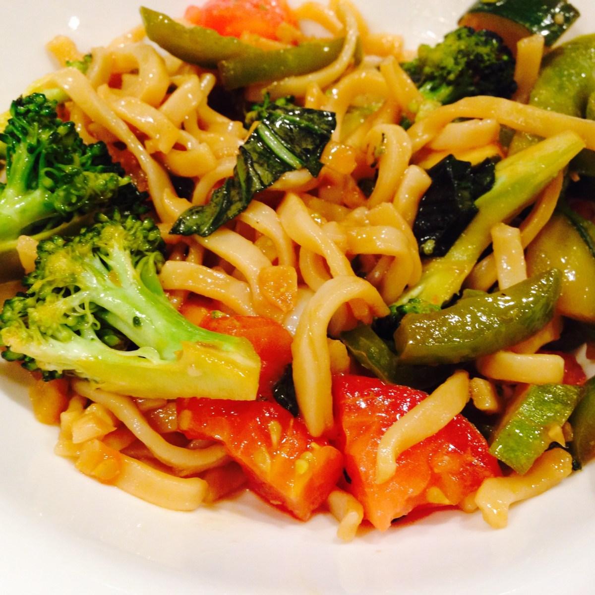 Shortcut Asian Vegetable Basil Lo Mein
