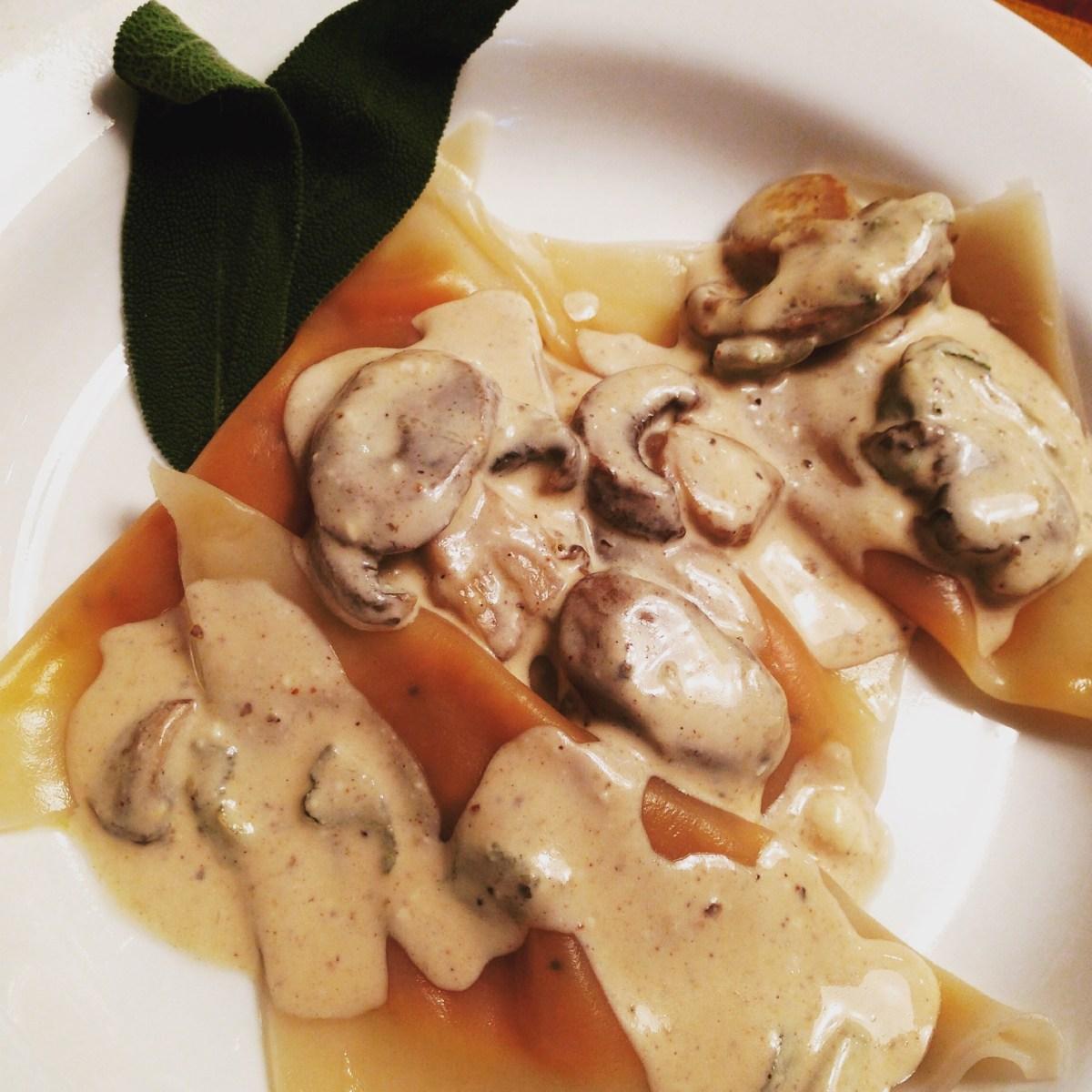 Pumpkin Ravioli~Mushroom Sage Cream