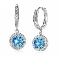 White Gold Blue CZ Earrings for Women - charmloop