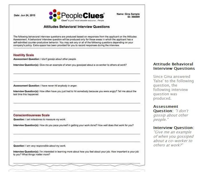 PeopleClues Employee Selection Process Sample Reports - sample reports