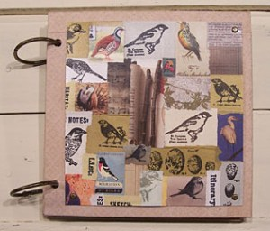 Cover of birding journal. Cover collage is made of found images, scrap papers and rubber stamped images from 7gypsies and Carolyn's Stamp Store.