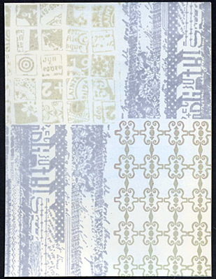 Front of card with layer of ink brayered over the background stamps