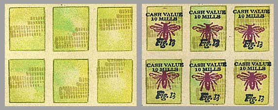 faux postage with bee