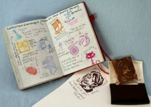 Letterboxing logbook and stamp