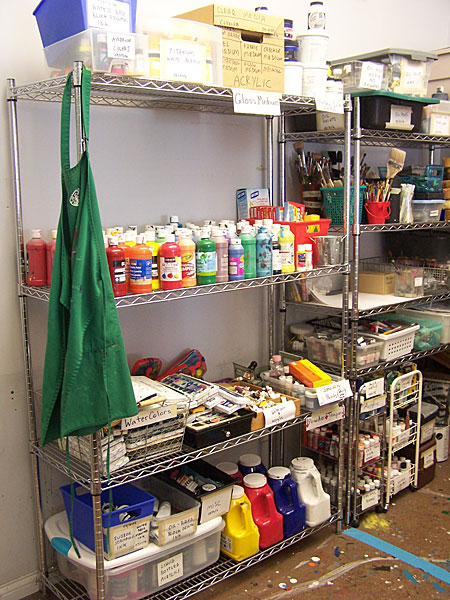 Supplies in the paint room after I organized them