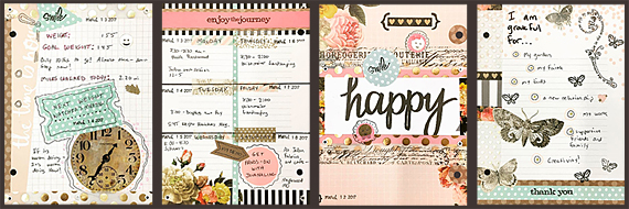 The samples I created using paper, stickers and a rubber stamp by Heidi Swapp, accented with other products sold at JoAnn.