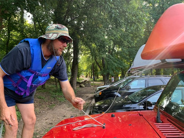 untying kayaks at Castlewood State Park