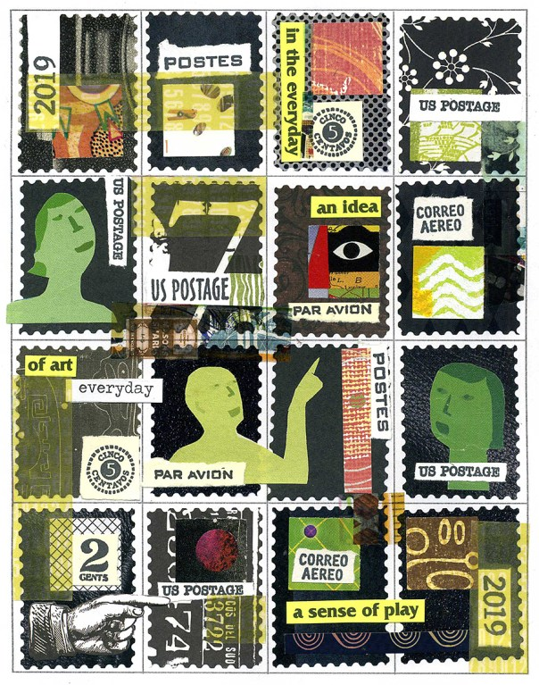 stamp sheet collage