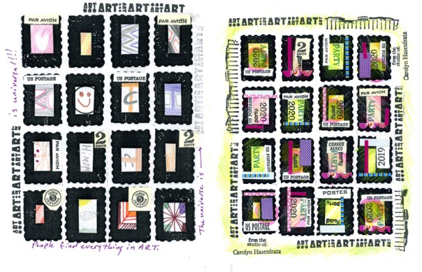 Faux postage sheets with coloring, collage, stamping and stickers.