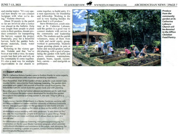 Clipping from St. Louis Review, June 7-13 2021 edition, page 7