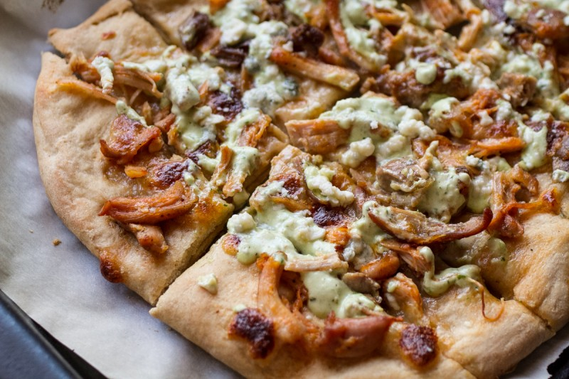 This pizza style Buffalo chicken bread is not too heavy but is flavorful enough to satisfy your Buffalo chicken pizza cravings. | recipe from Chattavore.com