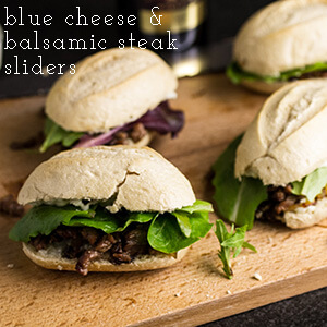 "Blue cheese & balsamic steak sliders are a fun and slightly fancy snack for your Super Bowl Sunday spread...but don't worry about that ""fancy"" part...because steak. 