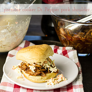 Pressure cooker pork shoulder with Dr. Pepper BBQ sauce gives you the same fall-apart tender result as the slow cooker in a fraction of the time!   recipe from Chattavore.com