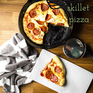 This quick and easy pizza skillet is like an amazing pan pizza baked and served in your favorite cast iron skillet, and it's completely customizable!   recipe from Chattavore.com