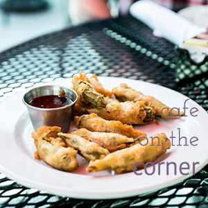 """Café on the Corner is located on Lookout Mountain in Tennessee. They serve """"Southern food re-imagined"""" in a casual but beautiful atmosphere.   restaurant review from Chattavore.com"""