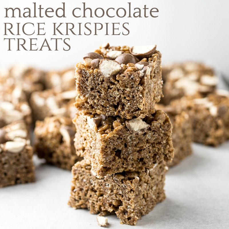 Malted chocolate Rice Krispie treats combine my favorite frozen drink ...