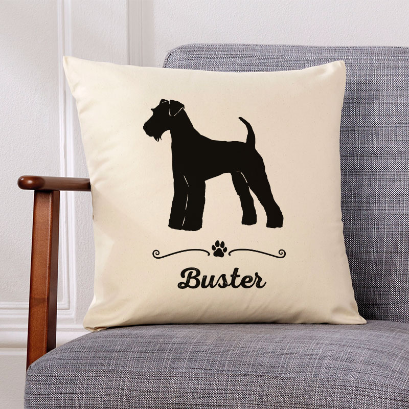 Personalised Dog Name Breed Cushion Preview On Screen